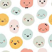 Cute cartoon monsters seamless pattern