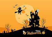 Happy Halloween lettering for party invitation card