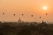 Hot air balloon over Bagan old town with Sunrise