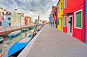 Burano  of Venice in Italy the multi colored buildings  of facades and canal