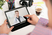 Telehealth concept on tablet screen