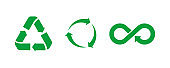 Recycle icon. Set of green recycle signs . Vector illustration on white backgruond . Isolated, ecology icons collection.