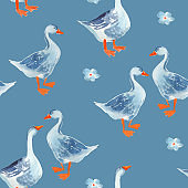 Seamless pattern: Watercolor cartoon gooses isolated on blue background.