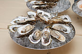 Large oysters in shells served on ice.