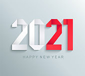 New 2021 year greeting card,paper numbers.