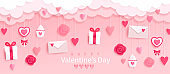 Valentines day banner with gifts,hearts,letters.