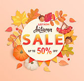 Autumn sale banner, up to 50 percent off.
