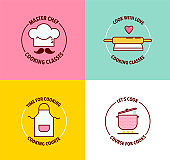 Set of logo for cooking classes and courses.