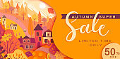Autumn sale card with fall countryside landscape.