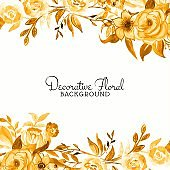 Elegant yellow watercolor flower background vector design illustration