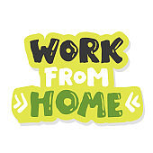 quote Work from home. sticker. Home office workspace. Phrase, freelance worker. Hand lettering. Brush calligraphy. Freelance, quarantine, coronavirus theme. Poster banner print card design.