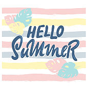 Brush lettering composition. Phrase Hello Summer. Vector illustration on white background. hand drawing. inspiration positive quote, calligraphy