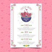 Valentines day menu template in realistic style design