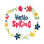 Hello spring greeting card. Hand drawn illustration with doodle Flower wreath and lettering on white background.