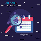 covid19 particles with magnifying glass and calendar vector illustration design