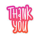 Thank You - vector illustration for your business presentations. sticker lettering hand drawing isolated on white