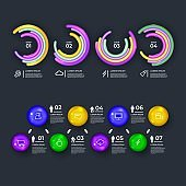 modern realistic Infographic elements set & tools business steps infographic template, can be used for presentation, web or workflow diagram layout