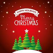 Beautiful Merry christmas greeting card with christmas tree