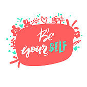 be yourself - yellow hand drawing lettering inscription text, motivation and inspiration positive quote, calligraphy vector illustration