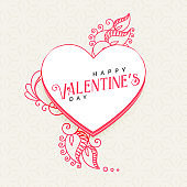 doodle style heart with decoration for valentine's day