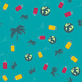 seamless pattern with palm trees, suitcase, Earth. Concept trip on summer vacation. vector dark blue background. hand draving.