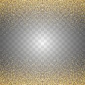 Abstract transparent golden glitters background