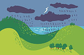 Summer Landscape Forest Sea Green Grass Tree Woods Sketch Simple rain, thunderstorm, thunder, cloudy weather .Child Hand Drawing Vector Illustration.