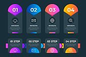 creative circle and arrow style steps collection colorful business infographic template, can be used for presentation, web or workflow diagram layout