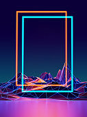 Futuristic Sci-Fi Low poly landscape With copy Space frame For Text ,3D  Illustration