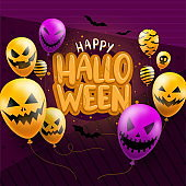 Happy Halloween background template in dark with devil face balloons icons