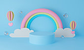 3d blue podium on pastel background abstract. 3d rendering for display product mockup design. Creative ideas minimal summer design. Sweet cute rainbow with clouds and paper art balloon. Cartoon.