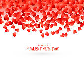 happy valentine's day greeting card design with falling red hearts