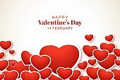 Lovely happy valentines day decorative hearts banner background
