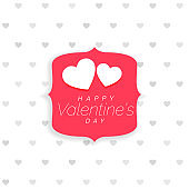 valentine's day background with hearts pattern and label vector illustration