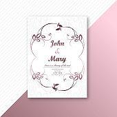 Decorative frame wedding card template design