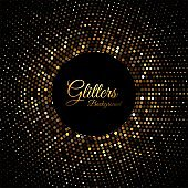 Abstract golden glitter particles background vector