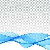 Blue wave modern transparent background vector design illustration