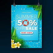 Summer Sale Poster Design Template with Flower, Beach Holiday Elements and Exotic Leaves on Pool Background.