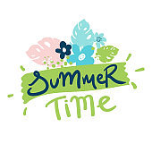 Summer Time. Hello Summer Holiday and Summer Camp poster. Traveling template poster ,vector illustration. Holiday party poster with palm leaf and lettering. Summer time background.