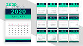 stylish new year calendar layout template design for 2020