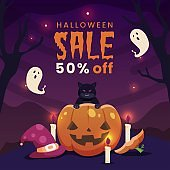 hand drawn halloween sale concept vector design illustration