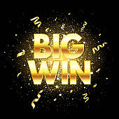 Big win golden text with glitter, sparkles and falling confetti. Confetti explosion. Bright congratulations background. Winner team. Successful champions. The first place. Vector illustration