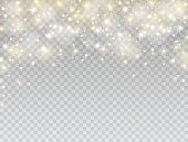 Glowing light effect border. Star burst with white and gold sparkles on transparent background. Magic glitter dust particles. Shining flare. Vector illustration