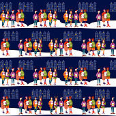 Christmas carol group. Group of people singing. Christmas tradition. Seamless background pattern.