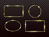 Golden frames set with light effect. Glitter banners on dark transparent background. Gold luxury glowing frames. Bright borders with sparkles and stars. Vector illustration