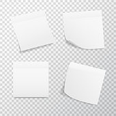 White square sticker set on transparent background. Realistic stickers with folded edge. Paper labels and tags. Sticky note mockup. Adhesive sheets. Vector illustration