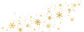 Celebration long banner. Golden snowflakes border in wave shape. Glitter gold snowflakes and snow with stars on white background. Merry Christmas and Happy New Year design. Vector illustration
