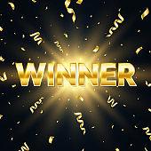 Winner golden text with sparkles and falling confetti. Bright congratulations background. Big win. Winners team. Confetti glitter explosion. Successful champions. Vector illustration
