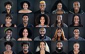 Headshot portraits of diverse black people smiling