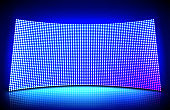 Glowing concave led wall video screen
